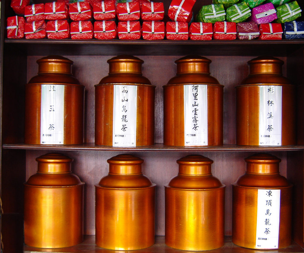 Tea cannisters in tea shop