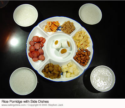 Rice porridge (zhou) with side dishes